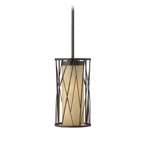 Frederick Ramond Mini-Pendant Light with Amber Glass FR41617ORB