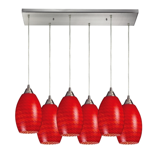 Elk Lighting Modern Multi-Light Pendant Light with Red Glass and 6-Lights 517-6RC-SC