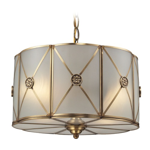 Elk Lighting Elk Lighting Preston Brushed Brass Pendant Light with Scalloped Shade 22003/2