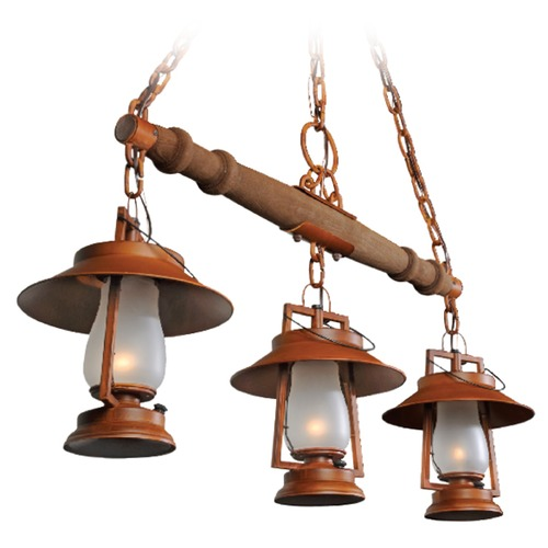 Sutters Mill Lantern Co 3-Light Rustic Yoke Mount Pendant - Natural Rust Finish 752-S-S-93-NR-FR