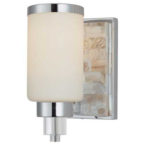 Minka Lavery Modern Sconce with White Glass in Chrome with Natural Shell Finish 3241-77