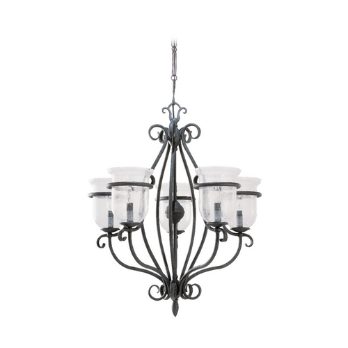 Sea Gull Lighting Chandelier with Clear Glass in Weathered Iron Finish 3401-07
