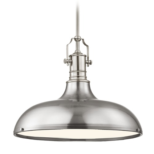 Design Classics Lighting Farmhouse Satin Nickel Metal Pendant Light 18.38-Inch Wide 1765-09 SH1779-09 R1779-09