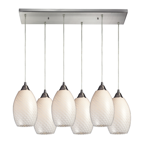 Elk Lighting Modern Multi-Light Pendant Light with White Glass and 6-Lights 517-6RC-WS