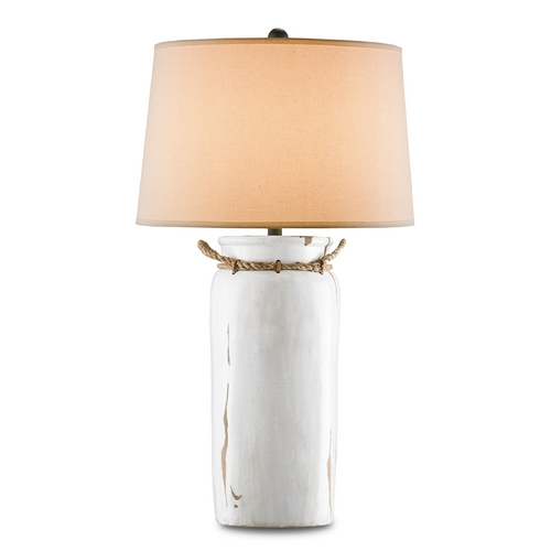 Currey and Company Lighting Currey and Company Lighting White Distress Crackle / Natural Rope / Shirley Rust Table Lamp with Dru 6022