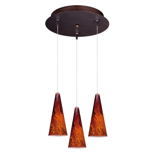 ET2 Lighting Minx Bronze Multi-Light Pendant with Conical Shade E94629-102BZ