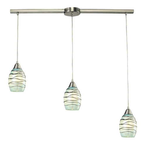 Elk Lighting Multi-Light Pendant Light with Mint Green Glass and 3-Lights 31348/3L-MN