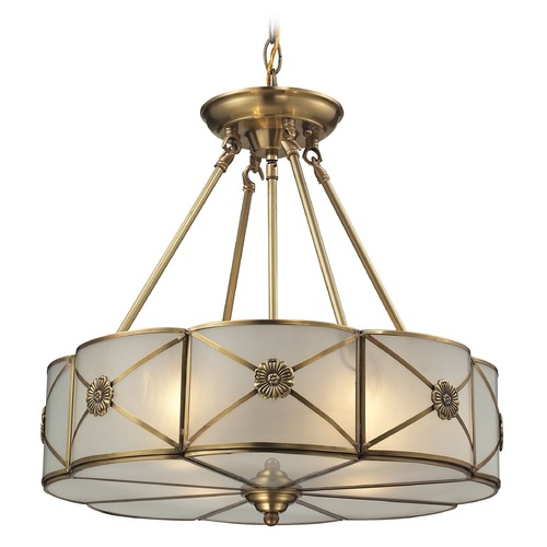 Elk Lighting Elk Lighting Preston Brushed Brass Pendant Light with Scalloped Shade 22004/4