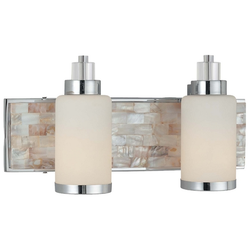 Minka Lavery Modern Bathroom Light with White Glass in Chrome with Natural Shell Finish 3242-77