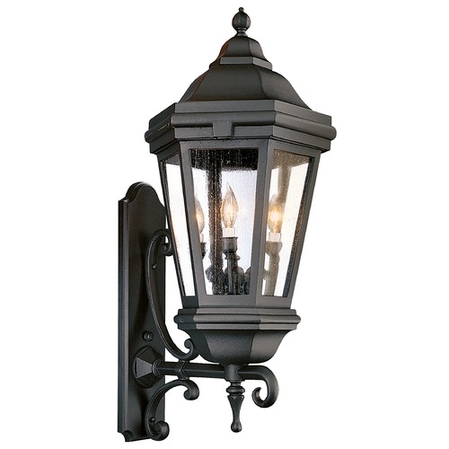 Troy Lighting Seeded Glass Outdoor Wall Light Black Troy Lighting BCD6834MB