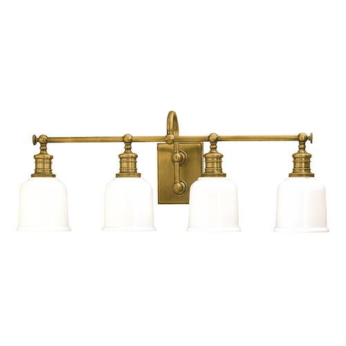 Hudson Valley Lighting Bathroom Light with White Glass in Aged Brass Finish 1974-AGB
