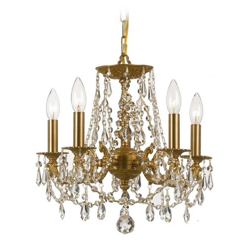 Crystorama Lighting Crystal Mini-Chandelier in Aged Brass Finish 5545-AG-CL-SAQ