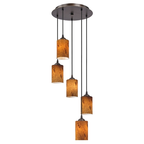 Design Classics Lighting Modern Adjustable Multi-Light Pendant Light with Cylinder Art Glass 580-220 GL1001C
