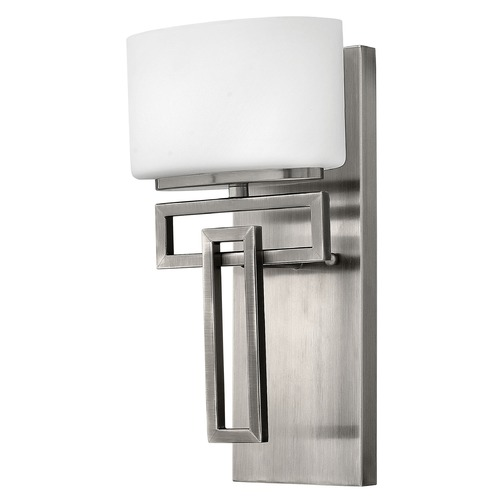 Hinkley Lighting Sconce with White Glass in Antique Nickel Finish 5100AN
