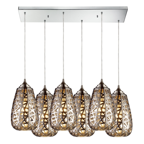 Elk Lighting Modern Multi-Light Pendant Light with Brown Glass and 6-Lights 20064/6RC