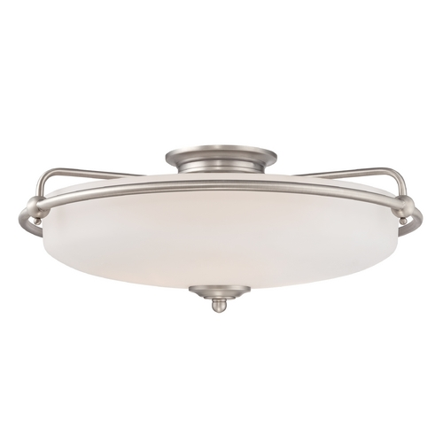 Quoizel Lighting Modern Flushmount Light with White Glass in Antique Nickel Finish GF1621AN