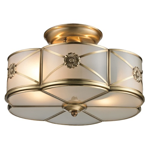 Elk Lighting Elk Lighting Preston Brushed Brass Semi-Flushmount Light 22002/2