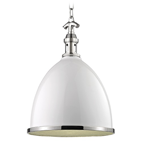 Hudson Valley Lighting Viceroy 1 Light Pendant Light - White / Polished Nickel 7714-WPN
