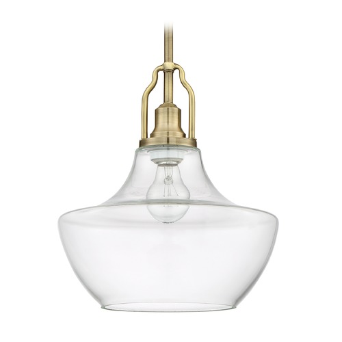 Craftmade Lighting Craftmade Lighting Legacy Brass Mini-Pendant Light with Abstract Shade P640LB1