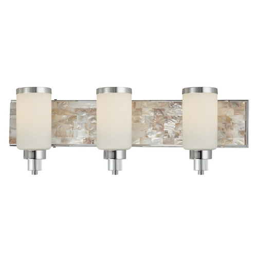 Minka Lavery Modern Bathroom Light with White Glass in Chrome with Natural Shell Finish 3243-77