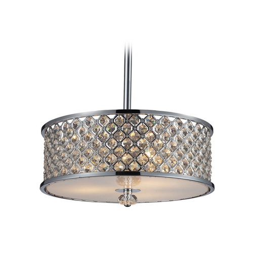 Elk Lighting Modern Pendant Light with Amber Glass in Polished Chrome  31101/3