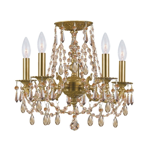 Crystorama Lighting Crystal Mini-Chandelier in Aged Brass Finish 5545-AG-GT-MWP