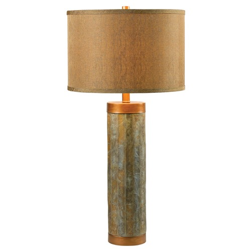 Kenroy Home Lighting Modern Table Lamp with Gold Shade in Natural Slate with Copper Finish Accents Finish 21036SL