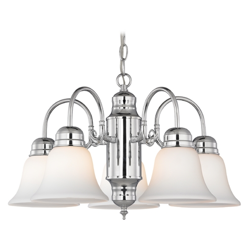 Design Classics Lighting Mini-Chandelier with White Glass in Chrome Finish 709-26 GL1032-WH
