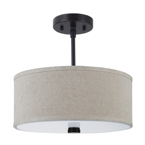 Sea Gull Lighting Modern Semi-Flushmount Light with Beige / Cream Shades in Burnt Sienna Finish 77262-710