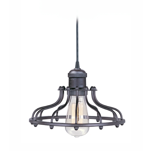 Maxim Lighting Satin Nickel Mini-Pendant Light with Cage Shade and Vintage Light Bulb 25024SN/BUI