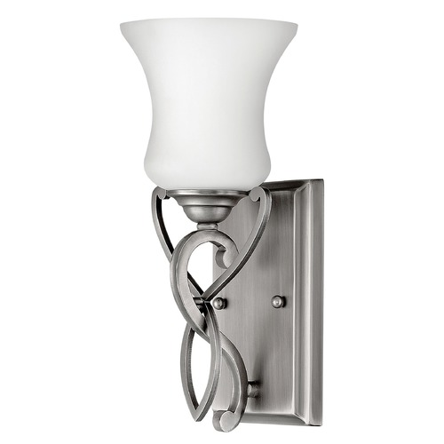 Hinkley Lighting Sconce with White Glass in Antique Nickel Finish 5000AN