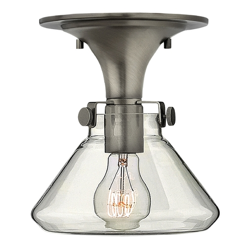 Hinkley Semi-Flushmount Light with Clear Glass in Antique Nickel Finish 3146AN