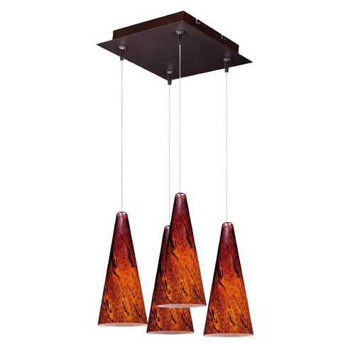 ET2 Lighting Minx Bronze Multi-Light Pendant with Conical Shade E94729-102BZ