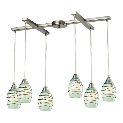 Elk Lighting Multi-Light Pendant Light with Mint Green Glass and 6-Lights 31348/6MN