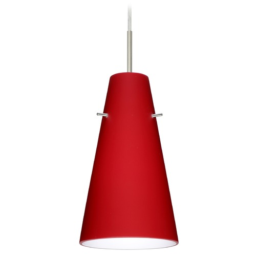 Besa Lighting Besa Lighting Cierro Satin Nickel LED Mini-Pendant Light with Conical Shade 1JT-4124RM-LED-SN
