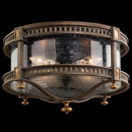 Fine Art Lamps Seeded Glass Close To Ceiling Light Brown and Gold Highlights Fine Art Lamps 564982ST