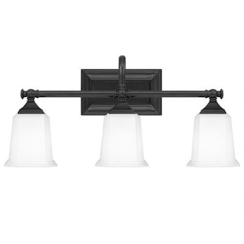 Quoizel Lighting Quoizel Lighting Nicholas Earth Black 3-Light Bathroom Light with Opal Glass NL8603EK