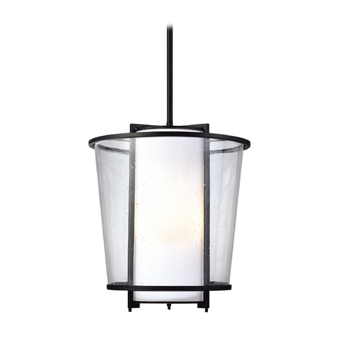 Troy Lighting Modern Pendant Light with White Glass in Forged Bronze Finish F1358FBZ