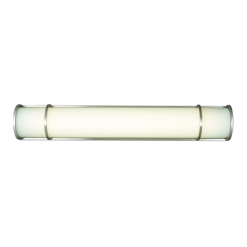 Philips Lighting Modern Bathroom Light with White Glass in Satin Nickel Finish F351136U
