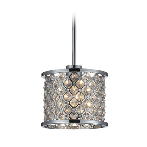 Elk Lighting Modern Mini-Pendant Light with Crystal in Polished Chrome Finish 31102/1