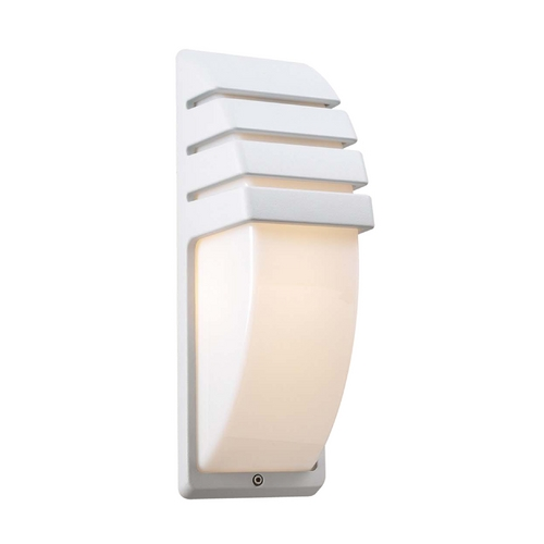 PLC Lighting Modern Outdoor Wall Light with White Glass in White Finish 1832 WH