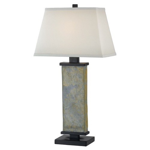 Kenroy Home Lighting Modern Table Lamp with Beige / Cream Shade in Natural Slate Finish 21037SL