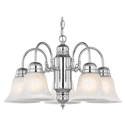 Design Classics Lighting Mini-Chandelier with Alabaster Glass in Chrome Finish 709-26 GL1032-ALB