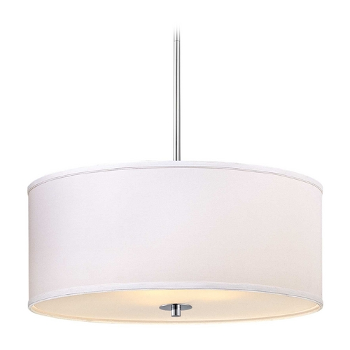 Design Classics Lighting Large Modern Chrome Drum Pendant Light with White Shade DCL 6528-26 SH7517