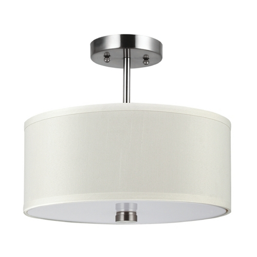 Sea Gull Lighting Modern Semi-Flushmount Light with White Shades in Brushed Nickel Finish 77262-962