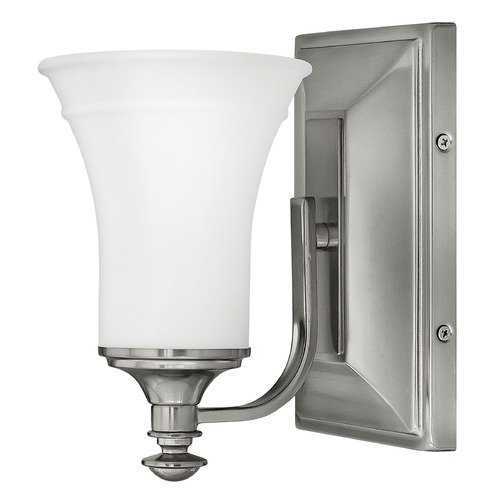 Hinkley Lighting Sconce with White Glass in Antique Nickel Finish 5830AN