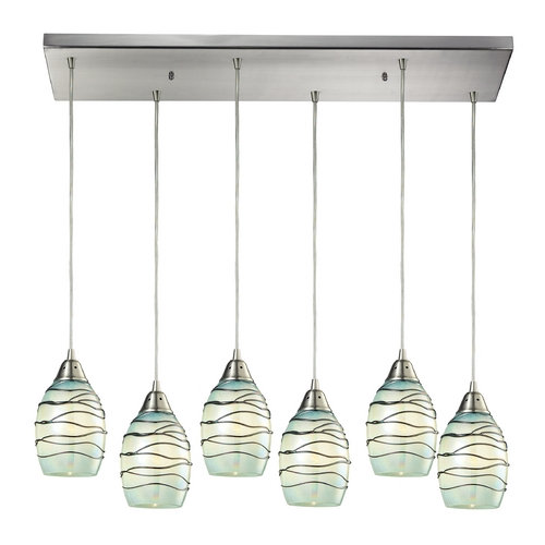 Elk Lighting Mini-Pendant Light with Mint Green Glass 31348/6RC-MN