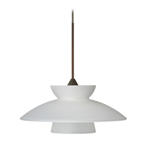 Besa Lighting Besa Lighting Trilo Frosted Glass Bronze LED Mini-Pendant Light 1XT-271825-LED-BR