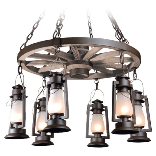 Sutters Mill Lantern Co 6-Light Wagon Wheel Chandelier - Bronze Finish 772-S-46-BZ-FR