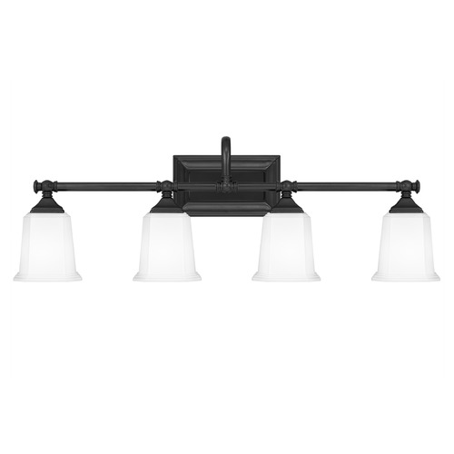 Quoizel Lighting Quoizel Lighting Nicholas Earth Black 4-Light Bathroom Light with Opal Glass NL8604EK